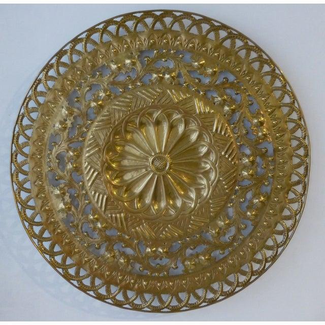 Italian Pierced Flower Brass Metal Wall Art - Image 2 of 7