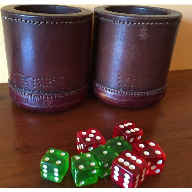 Leather Dice Cups with 8 Bakelite Dice - A Pair - Image 6 of 7
