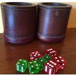 Image of Leather Dice Cups with 8 Bakelite Dice - A Pair