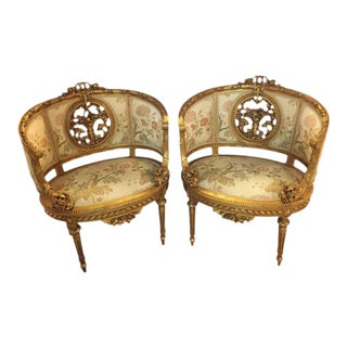 Barrel Back Louis XVI Style French Bergère Chairs - A Pair