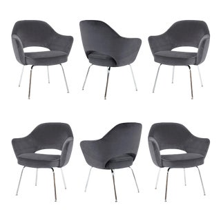 Saarinen for Knoll Executive Arm Chairs in Gunmetal Gray Velvet - Set of 6