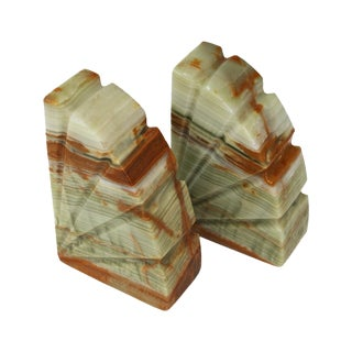 Onyx Carved Bookends - A Pair
