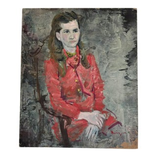 "Vintage Portrait Painting by Riju 1968 ""Waiting, Sophina""."
