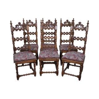 Spanish Colonial Carved Dining Chairs - Set of 6