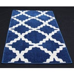 "Image of Blue Trellis Pattern Rug - 2'8"" X 5'"