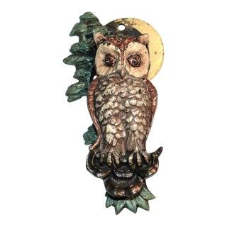 Painted Owl & Crescent Moon Door Knocker