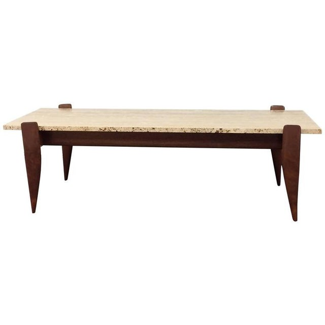 Gio Ponti for M. Singer & Sons Walnut and Travertine Coffee Table - Image 2 of 6