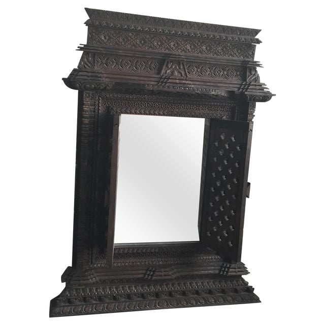 Hand Carved Nepalese Mirror - Image 1 of 8