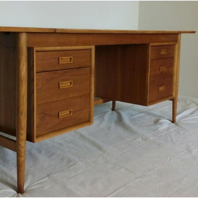 Image of Mid-Century Danish Teak & Oak Trim Executive Desk