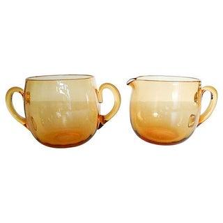 Amber Glass Creamer and Sugar - Pair