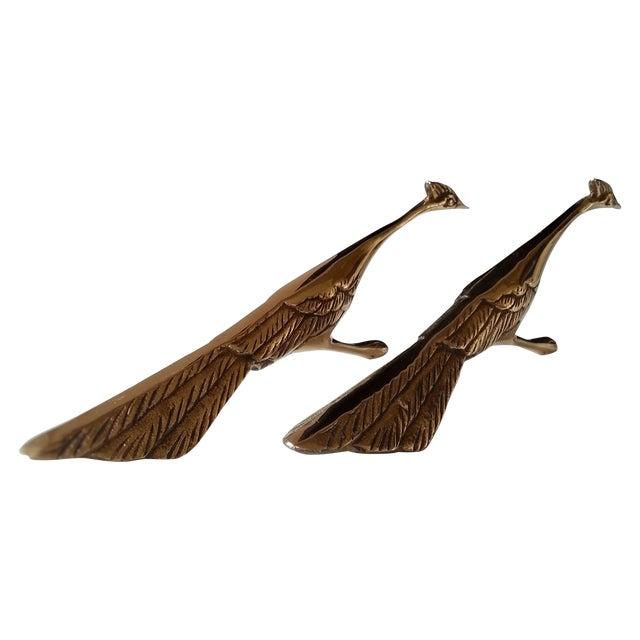 Image of Mid-Century Brass Peacocks - A Pair