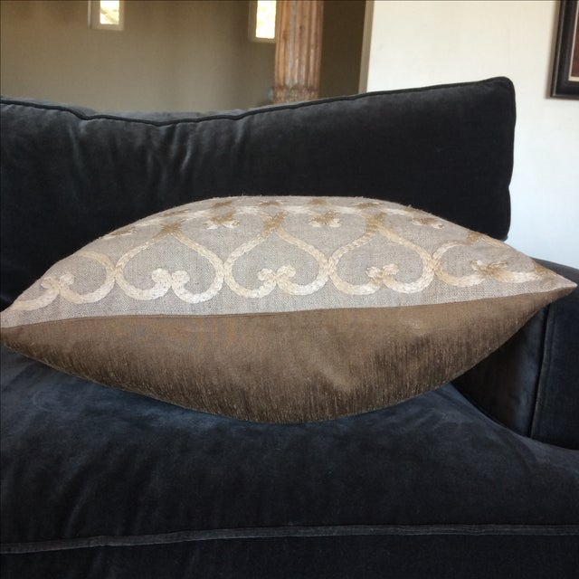 Embriordered Linen Geometric Pillow - Image 4 of 5