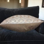 Image of Embriordered Linen Geometric Pillow