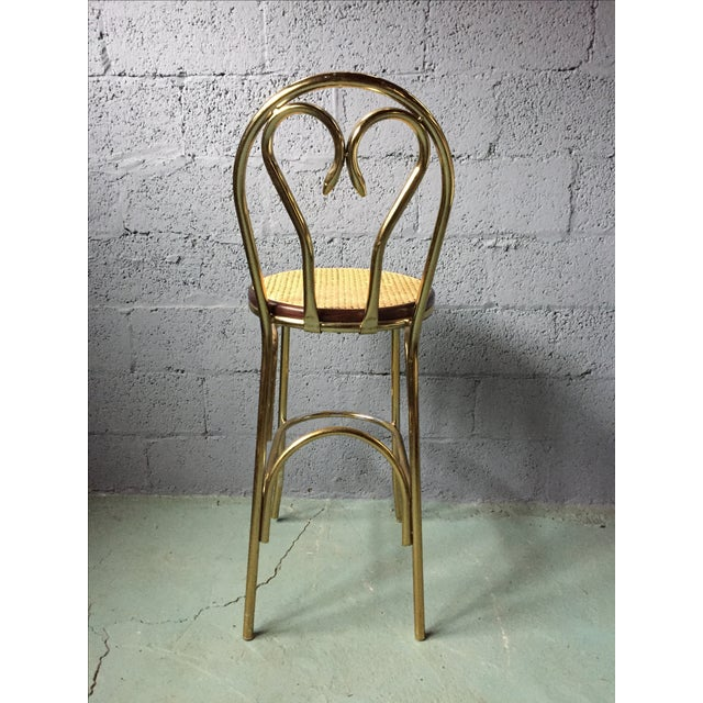 Gold Chrome Bar Stools In The Style of Michael Thonet- Set of 3 - Image 5 of 11