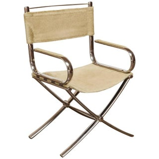 Chrome and Cowhide Johnsonian Directors Chair by Eric Brand