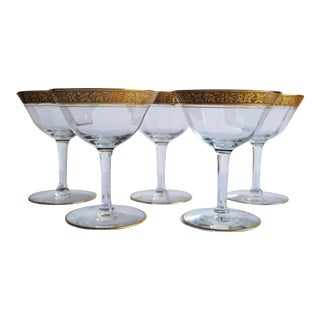 Gold Encrusted Champagne Glasses - Set of 5