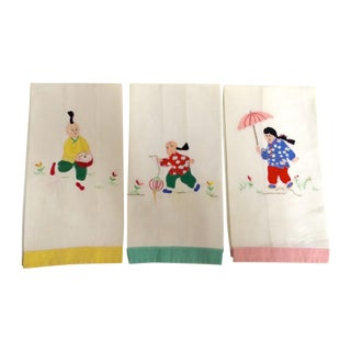 Vintage Asian Hand Towels - Set of 3
