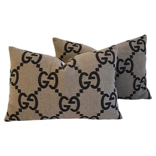 Custom Tailored Gucci Cashmere & Velvet Feather/Down Pillows - Pair