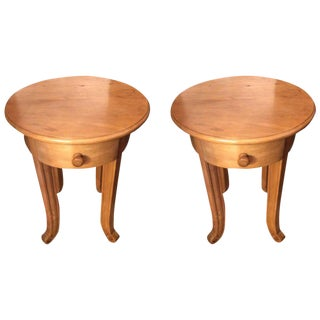 Simple Pair of Pine Round End Tables Nightstands