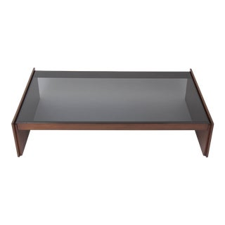 Monumental American Walnut Coffee Table with Smoked Glass Surface