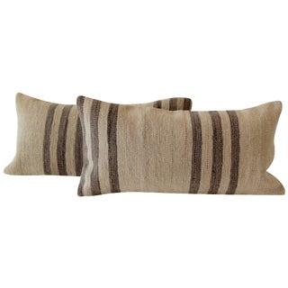 Striped Turkish Kilim Cushions - A Pair