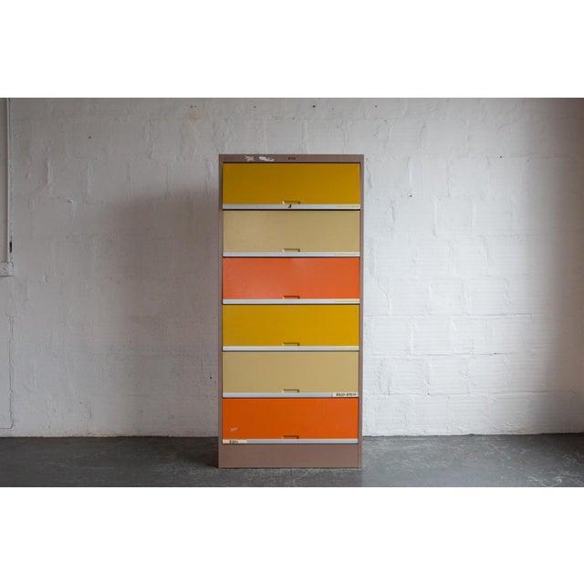 Vintage Orange & Yellow Steel Tab Office Cabinets - Image 2 of 7