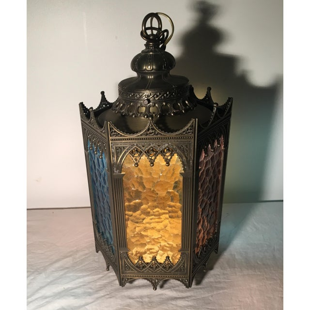 Gothic Brass Swag Lamp with Multi Colored Glass - Image 3 of 6