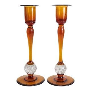 Amber Art Glass Candlesticks - A Pair