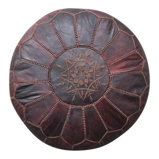Chocolate Moroccan Leather Floor Pouf