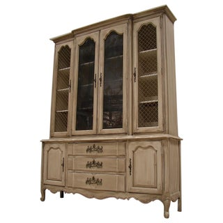 French Provincial Gray Wash China Cabinet Cupboard