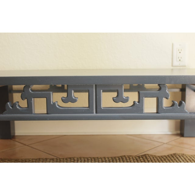 Chinoiserie Navy Blue Wood Carved Low Coffee Table - Image 5 of 8