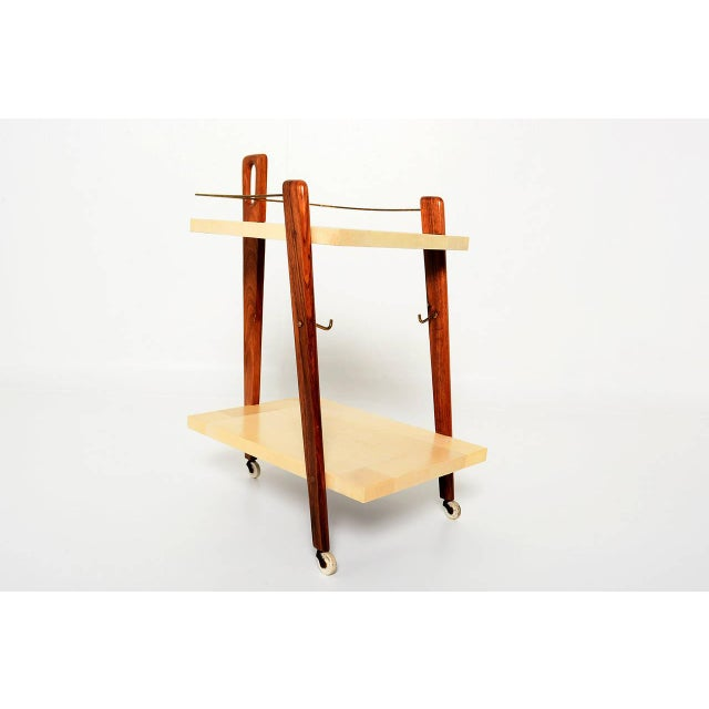 Mexican Modernist Goat Skin Service Cart - Image 10 of 10