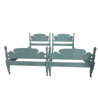 Vintage Coastal Cottage Blue Distressed Maple Twin Beds - a Pair