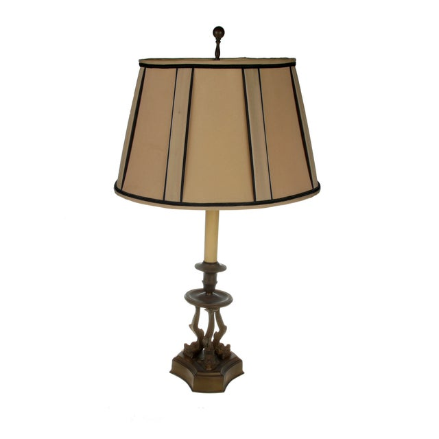 Image of Vintage Bronze Koi Fish Table Lamp