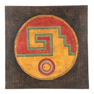 Fresco on Burlap of Geometric Design by Jacques Lamy