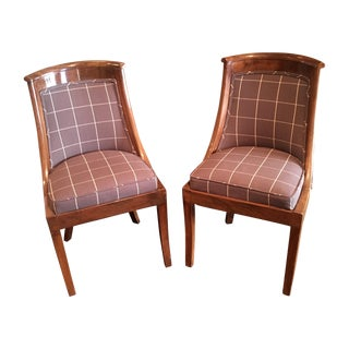 19th C Fruitwood Barrel Chairs With Saber Legs