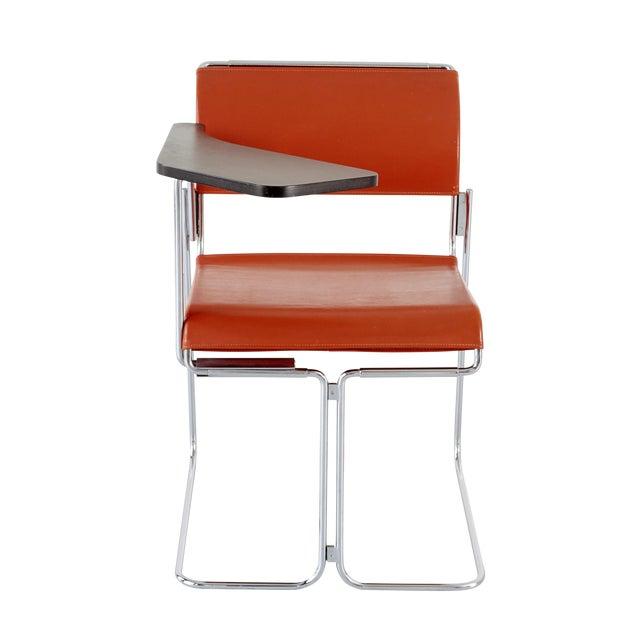 Harter Vintage Orange Vinyl & Chrome Tablet Chair - Image 1 of 6