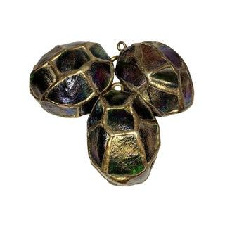 Tiffany Favrile Glass & Bronze Turtleback Tile Eggs - Set of 3