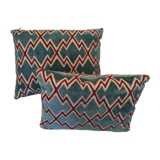 Teal & Red Graphic Velvet Lumbar Pillows - A Pair