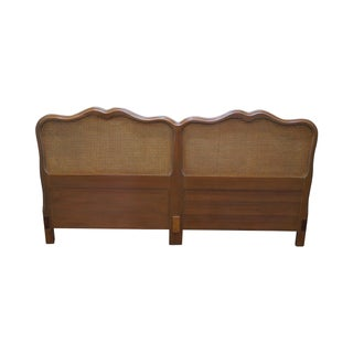 1950s Fruitwood Cane Back King Size Headboard