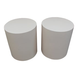 Mid-Century Modern Pink Laminate End Tables - A Pair