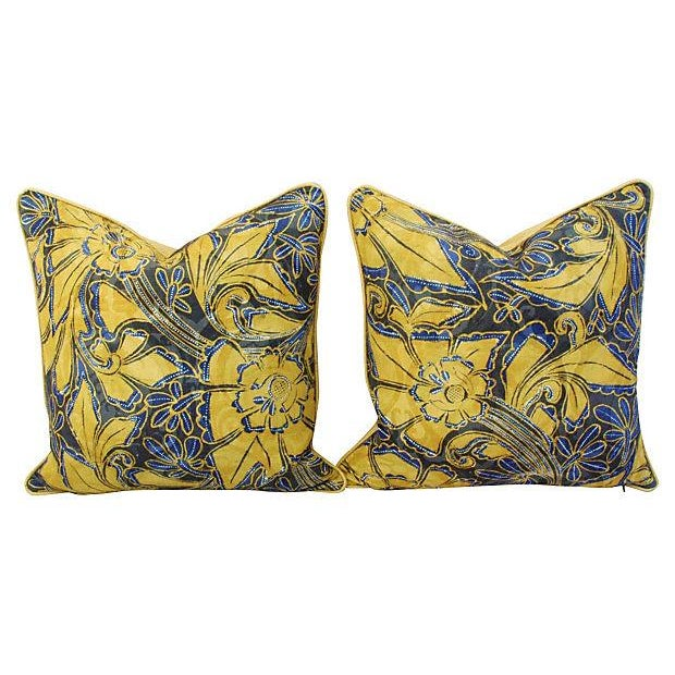 Scalamandre Blue & Gold Silk Pillows - A Pair - Image 6 of 7