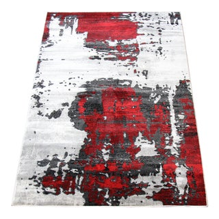 Contemporary Bold Red Abstract Rug - 5'3''x 7'7''
