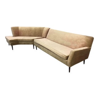 Mid-Century Two Piece Velvet Sectional