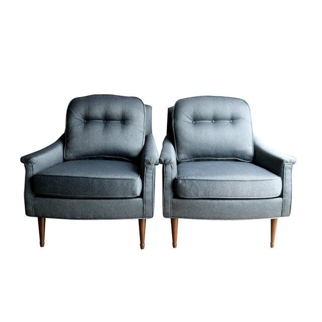 Grey Mid-Century Modern Armchairs - Pair - Image 1 of 6