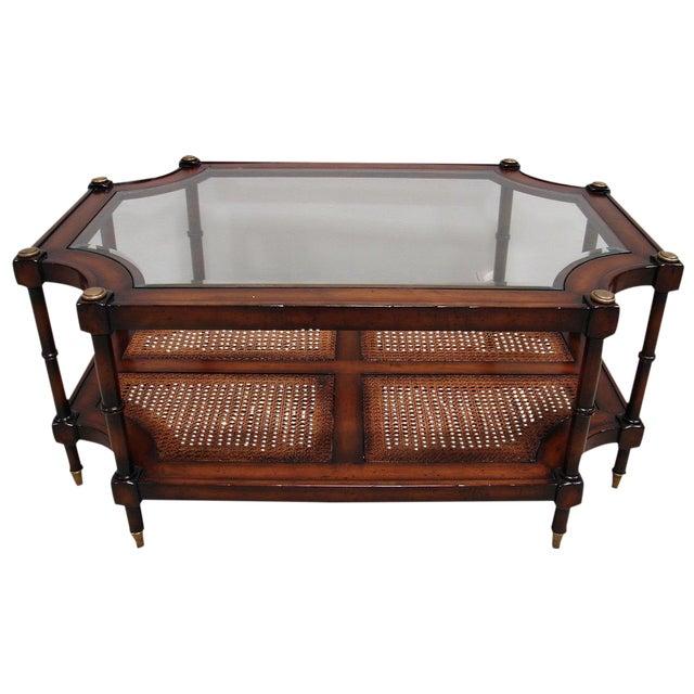 Image of Henredon Glass Top Cane Coffee Table