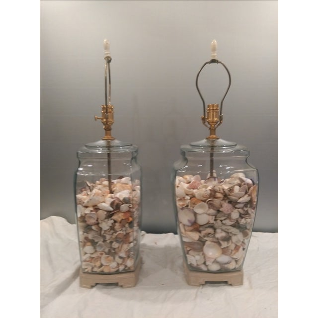 Shell Glass Urn Lamps John Richard Shades - Pair - Image 6 of 11