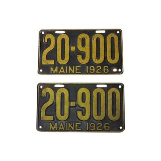 1926 Maine License Plate - A Pair