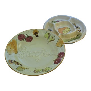 1960's Los Angeles Potteries Hand-Painted Bowl & Appetizer Dish