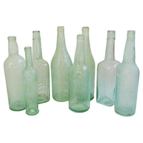 Image of Pale Green-Blue Antique Bottles - Set of 8